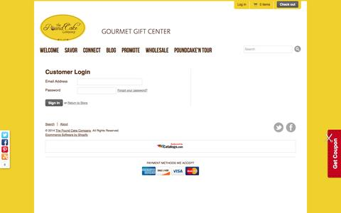 Screenshot of Login Page thepoundcakecompany.com - Account   The Pound Cake Company - captured Sept. 30, 2014