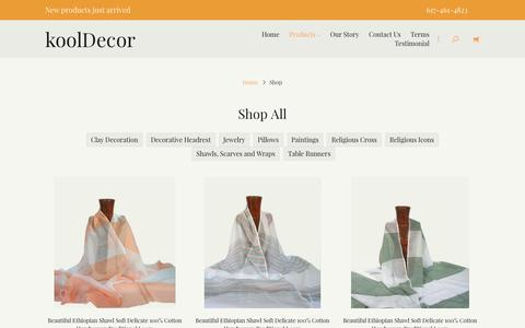Screenshot of Products Page Testimonials Page kooldecor.com - Products | Ethnic, Ethiopian Home Decoration and Personal Accessories - captured Aug. 9, 2016