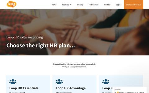 Screenshot of Pricing Page loophr.com - Loop HR says… - captured Nov. 9, 2018