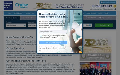 Screenshot of About Page bolsovercruiseclub.com - The Cruise Specialist | Bolsover Cruise Club | Award Winning Cruise Agency  - captured July 18, 2019