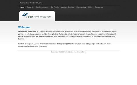 Screenshot of Home Page select-hi.com - Select Hotel Investment Corp. - captured Oct. 8, 2014