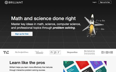 Screenshot of Home Page brilliant.org - Brilliant   Math and science done right - captured Sept. 11, 2018