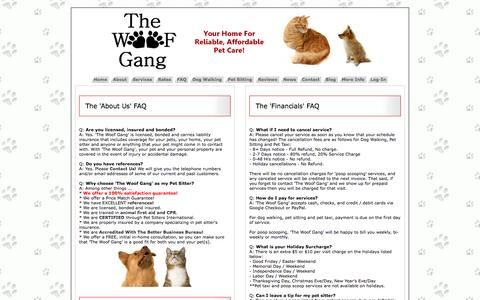 Screenshot of FAQ Page thewoofgang.biz - The Woof Gang - Dog Walking and Pet Sitting in Fremont, Newark and Union City - FAQ - captured Sept. 30, 2014