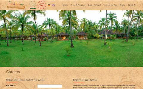 Screenshot of Jobs Page thenattikabeach.com - Careers | The Nattika Beach Ayurveda Resort - captured Nov. 16, 2018