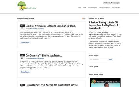 Screenshot of Blog thedisciplinedtrader.com - Trading Discipline  : The Disciplined Trader - captured Aug. 15, 2019