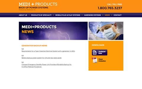 Screenshot of Press Page mediproducts.net - Backup Emergency Power News by Medi-Products - captured Oct. 27, 2014