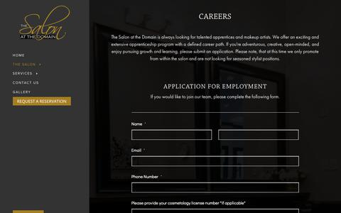 Screenshot of Jobs Page salonatthedomain.com - Careers - The Salon at The Domain - captured Oct. 9, 2018