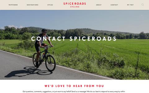 Screenshot of Contact Page spiceroads.com - Contact SpiceRoads - Email, Bangkok and Chiang Mai Office Details - captured Sept. 21, 2018
