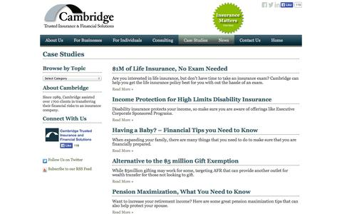 Screenshot of Case Studies Page camlife.com - Case Studies | Cambridge Insurance & Financial SolutionsCambridge Insurance & Financial Solutions - captured Oct. 3, 2014
