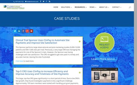 Screenshot of Case Studies Page clinverse.com - Case Studies - Clinverse - captured Jan. 29, 2016