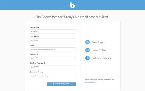 Screenshot of Signup Page boomr.com - Boomr - captured Sept. 13, 2014