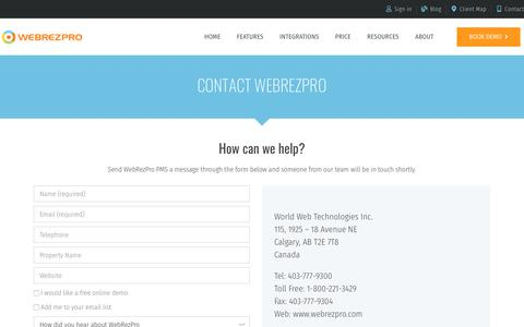 Screenshot of Contact Page webrezpro.com - Contact Us | WebRezPro - captured Oct. 27, 2019