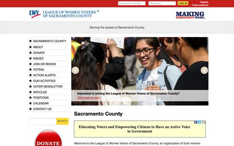 Screenshot of Signup Page lwv.org - Sacramento County | MyLO - captured Oct. 31, 2018