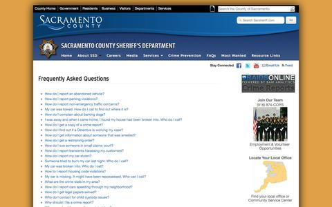 Screenshot of FAQ Page sacsheriff.com - Sacramento County Sheriff's Department - Frequently Asked Questions - captured Oct. 4, 2017