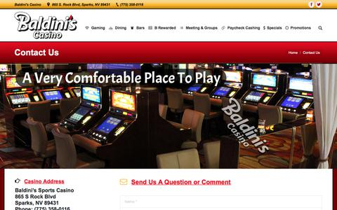 Screenshot of Contact Page baldinissports.com - Contact Us – Baldini's Sports Casino - captured Oct. 9, 2017