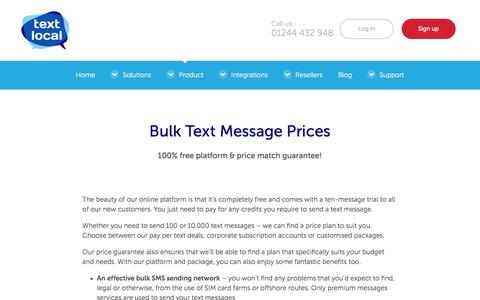 Screenshot of Pricing Page textlocal.com - Bulk SMS Prices - Free Text Platform & Price Match Guarantee - captured April 11, 2017