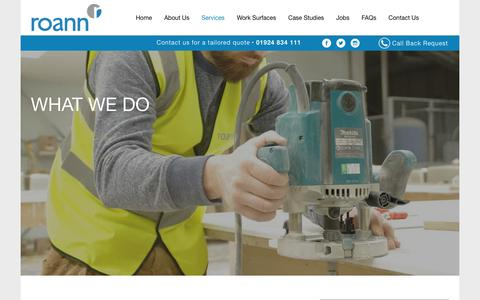 Screenshot of Services Page roann.co.uk - What We Do - Roann - captured Sept. 21, 2018