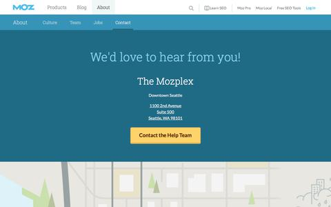 Screenshot of Contact Page moz.com - Contact Us | Moz - captured Jan. 26, 2018