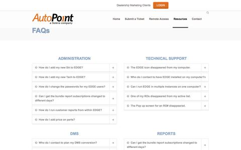 Screenshot of FAQ Page autopoint.com - AutoPoint HelpDesk   –  FAQs - captured Nov. 2, 2014