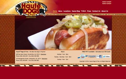 Screenshot of Home Page hautedogsandfries.com - Haute Dogs & Fries | The Best Hot Dogs In Virginia | Purcellville & Alexandria Restaurants - captured Oct. 2, 2014