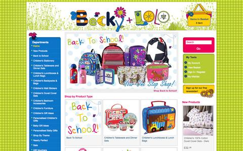 Screenshot of Home Page beckyandlolo.co.uk - Children's Wall Stickers, Kids Lunch Boxes, Kids Tableware, Childrens Duvet Covers, Nursery Decor | Becky & Lolo - captured Sept. 23, 2014