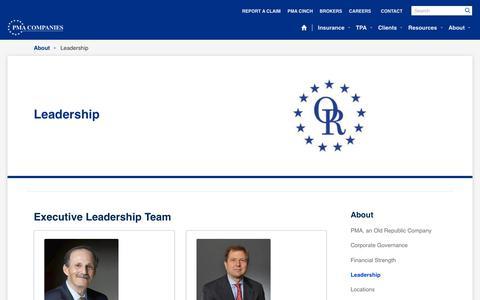 Screenshot of Team Page pmacompanies.com - Leadership - captured Sept. 20, 2018