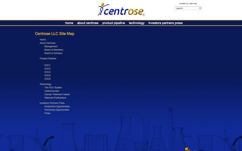 Screenshot of Site Map Page centrosepharma.com - Site Map - Centrose LLC - captured Sept. 13, 2014