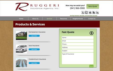 Screenshot of Services Page ruggeriinsurance.com - Services - captured Dec. 2, 2016