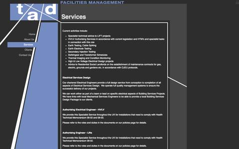 Screenshot of Services Page tadfm.co.uk - TAD Facilities Management : Services - captured Oct. 7, 2014