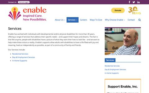 Screenshot of Services Page enablenj.org - Services - Enable NJ - captured Dec. 15, 2018