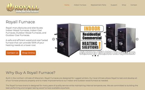 Screenshot of Home Page royallfurnace.com - Indoor and Outdoor Furnace by Royall - captured Sept. 21, 2018
