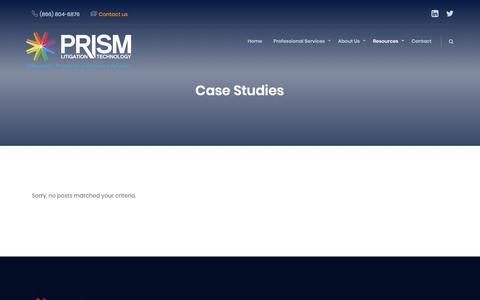 Screenshot of Case Studies Page prismlit.com - Case Studies Archives - Prism Litigation Technology - captured Nov. 11, 2018