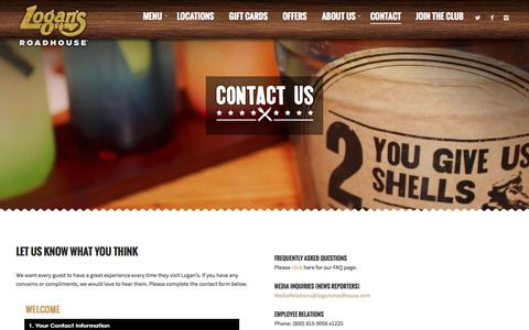 Screenshot of Contact Page logansroadhouse.com - Contact - Logans Roadhouse - captured Oct. 25, 2015