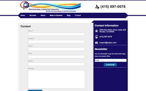 Screenshot of Contact Page calpcc.com - Contact | Professional Computer Concepts, Inc. - captured Sept. 5, 2017