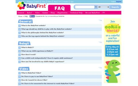 Screenshot of FAQ Page babyfirsttv.com - FAQ - captured Sept. 11, 2014