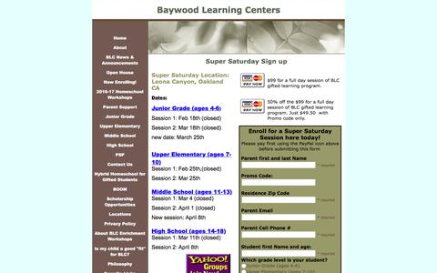 Screenshot of Signup Page baywoodlearningcenter.org - Super Saturday Sign up - captured June 1, 2017