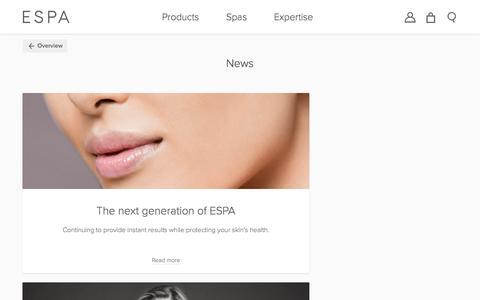 Screenshot of Press Page espaskincare.com - News, Events & Awards | New Spas & Product Launches | ESPA  | ESPA - captured March 30, 2017