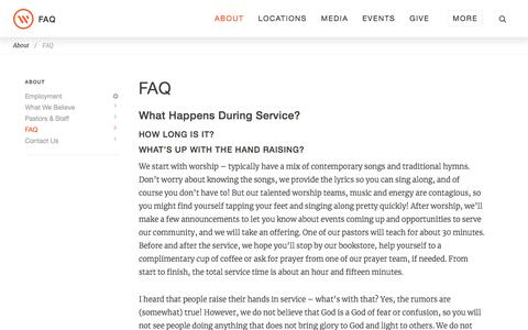 Screenshot of FAQ Page westsidechurch.org - Westside Church - Life. Love. Jesus. - captured April 16, 2018