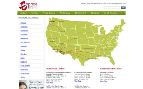 Screenshot of Locations Page efrental.com - Express Furniture - Locations - captured Oct. 3, 2014