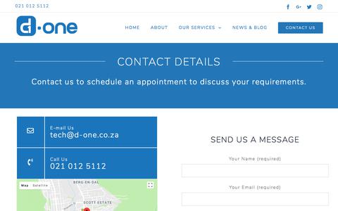 Screenshot of Contact Page d-one.co.za - Contact Us - D-One Smart Home Automation System Cape Town - captured July 25, 2018