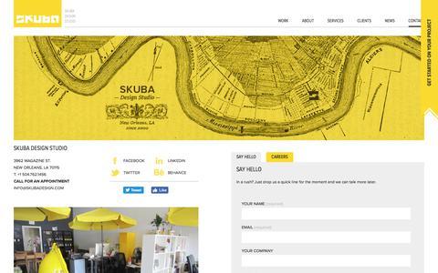 Screenshot of Contact Page skubadesign.com - Skuba Design Studio | Contact - captured June 14, 2017