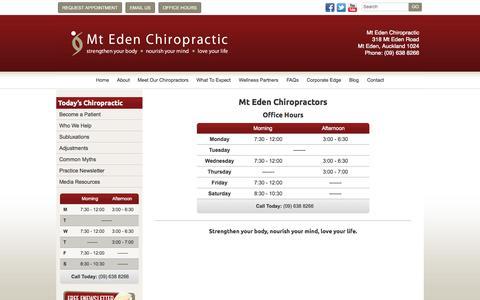 Screenshot of Hours Page mtedenchiro.co.nz - Contact Mt Eden Chiropractic - (09) 638 8266 - captured Oct. 9, 2014