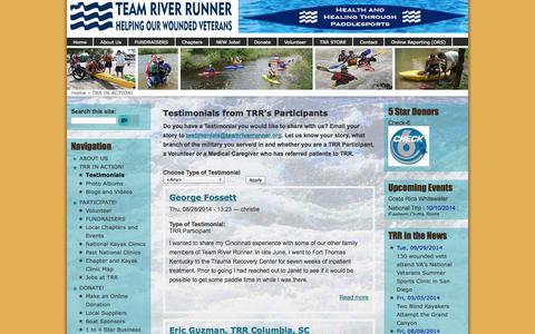 Screenshot of Testimonials Page teamriverrunner.org - Testimonials from TRR's Participants | Team River Runner - captured Oct. 7, 2014