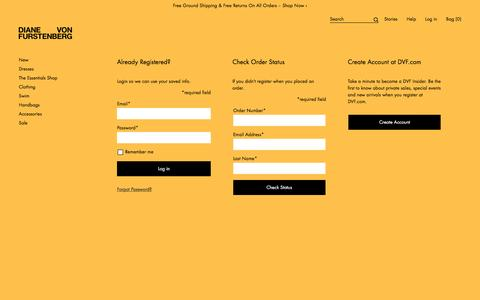 Screenshot of Login Page dvf.com - Login or register for a DVF.com account - captured April 5, 2017