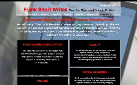 Screenshot of Pricing Page frankshortwrites.com - Prices you can afford. - captured Aug. 4, 2016