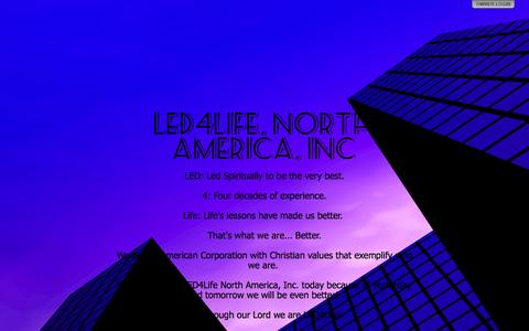 Screenshot of Home Page led4life.com - LED4Life, North America, INC - captured Oct. 1, 2014