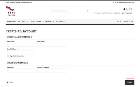Screenshot of Signup Page se10gallery.com.au - Create New Customer Account | SE10 Gallery - captured Dec. 8, 2018