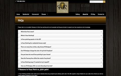 Screenshot of FAQ Page frdesigns.net - FR Designs  - FAQs - FR Designs - captured Oct. 5, 2014