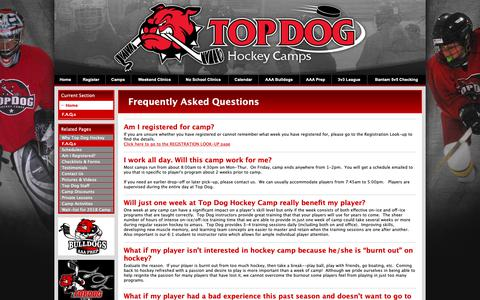 Screenshot of FAQ Page topdoghockey.com - Frequently Asked Questions - captured Oct. 20, 2018