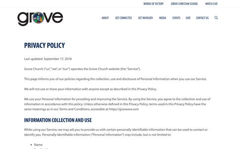 Screenshot of Privacy Page groveave.com - Privacy Policy | Grove Avenue Baptist Church - captured Sept. 30, 2018